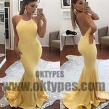 Yellow Halter Sleeveless Backless Prom Dress, Sexy Mermaid Floor Length Prom Dress, Prom Dresses, TYP0318