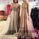 Sequins Beading Long Prom Dresses V-Neck Tulle A-Line Evening Formal Dresses, TYP0405