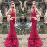 Red Two Piece Beading Prom Dresses, Halter Strap Tulle Prom Dresses, TYP0387