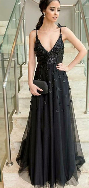 A-Line V-Neck Long Cheap Black Evening Prom Dresses with Appliques&Sequins, TYP1293