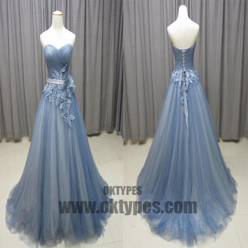 Sweetheart Neck Gray Blue Tulle Long Senior Prom Dress, Long Evening Dress With Lace Appliques, TYP0453