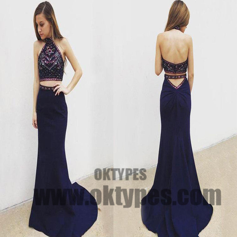 Navy Blue Two Piece Prom Dresses, Grecian Prom Dresses With Beading ...