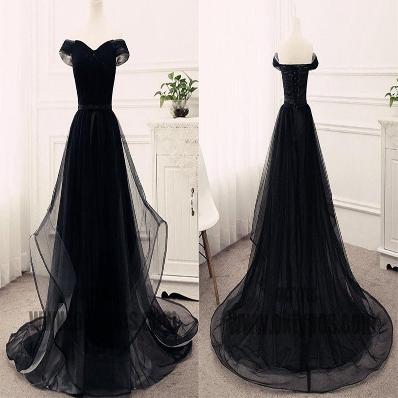 Black Long Mermaid Prom Dresses, Off-shoulder Prom Dresses, Lace Up Tulle Prom Dresses, TYP0357