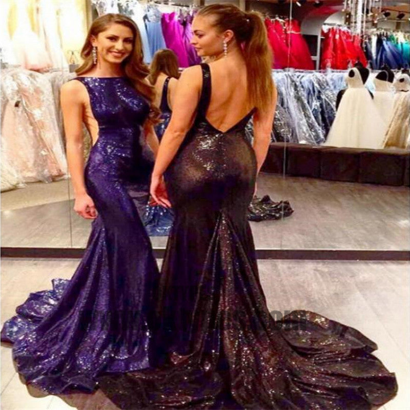Long Mermaid Prom Dresses, Sequin Prom Dresses, Backless Prom Dresses, Sabrina Prom Dresses, TYP0299