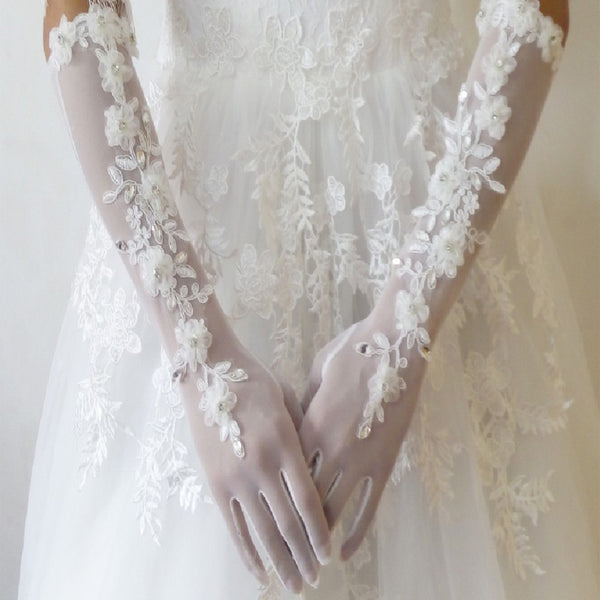 Light ivory beaded wedding gloves / bridal lace gloves / floral appliques is for sale. Sold By pair ,TYP0547