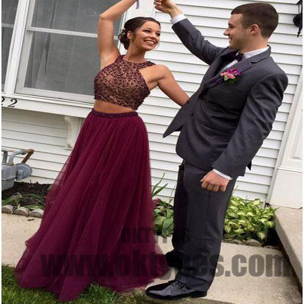 Two Piece Long Floor Length Tulle Prom Dresses, Beading Prom Dresses, Halter Prom Dresses, Charming Prom Dresses,TYP0268