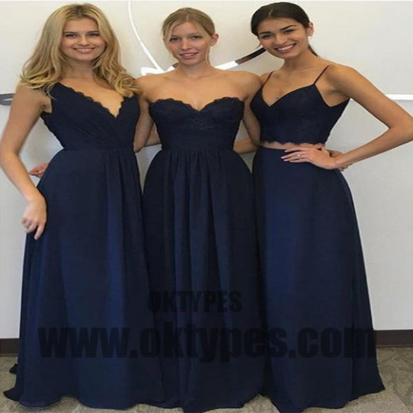 A line Bridesmaid Dresses, Navy Blue Bridesmaid Dresses, Long Bridesmaid Dresses With Lace Sleeveless Sweetheart, TYP0447