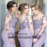 Long Sleeves Mermaid Scoop Lilac Custom Bridesmaid Dresses , Wedding Party Dresses, TYP0340