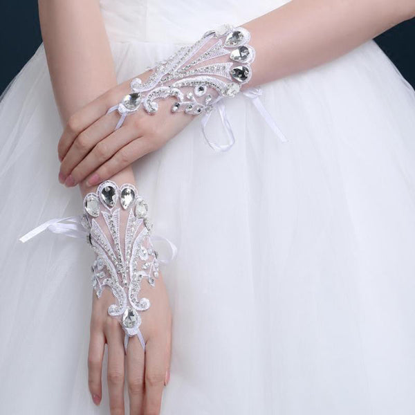 Short Finger Rhinestone Wedding Gloves, Women Bridal Gloves, TYP0638