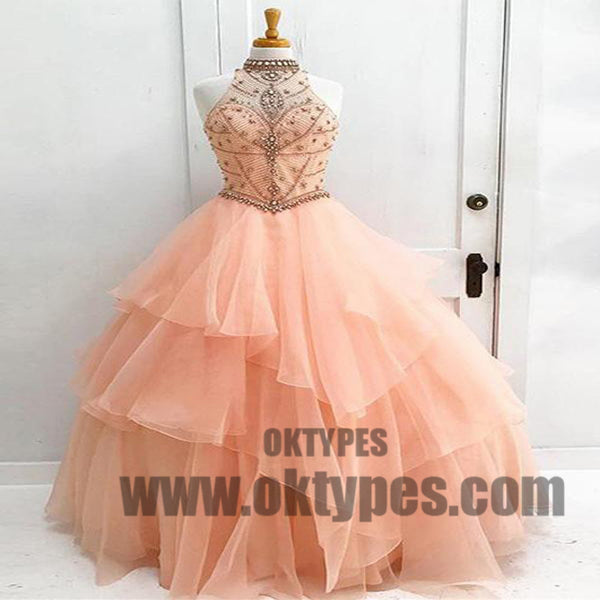 Ball Gown High Neck Floor-length Sleeveless Tulle Prom Dress/Evening Dress, Beading Prom Dresses, TYP0434
