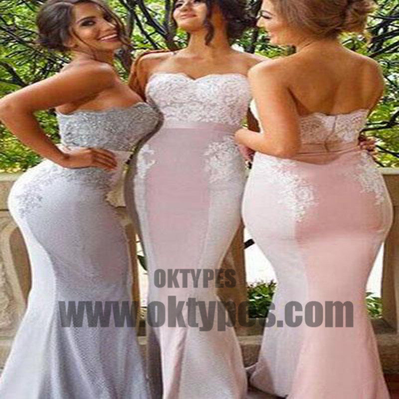 Lace Cheap Long Strapless Mermaid Appliques Backless Custom Bridesmaid Dresses, TYP0470