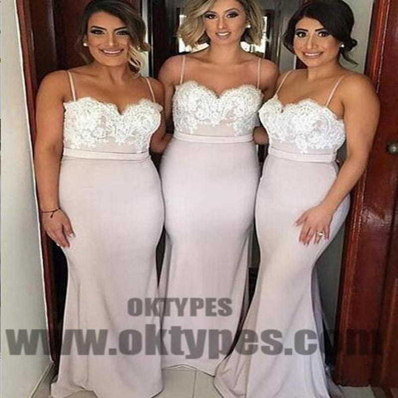 2018 Bridesmaid Dresses, Lace Bridesmaid Dresses, Spaghetti Strap Bridesmaid Dresses, TYP0332