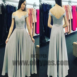 A-Line Off-Shoulder Open Back Sweetheart Grey Chiffon Prom Dresses  with Appliques, TYP0464