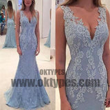 Long Floor Length Prom Dresses, Lace Prom Dresses, Appliques Prom Dresses, V-neck Prom Dresses, V-back Prom Dresses, TYP0200