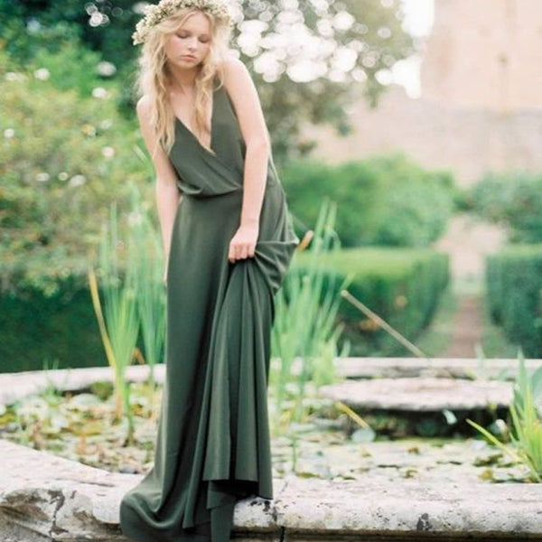 Green Deep V-Neck Sweep Train Long Jersey Cheap  Bridesmaid Dresses Online, TYP0994