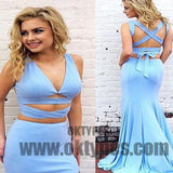 Sky Blue Two Piece Prom Dresses, Long Floor Length Prom Dresses, V-neck Prom Dresses, Criss-Cross Prom Dresses, TYP0249
