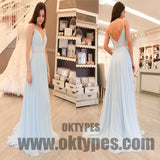 Light Blue Spaghetti Strap Sequin Chiffon Prom Dresses, Backless Prom Dresses, TYP0360