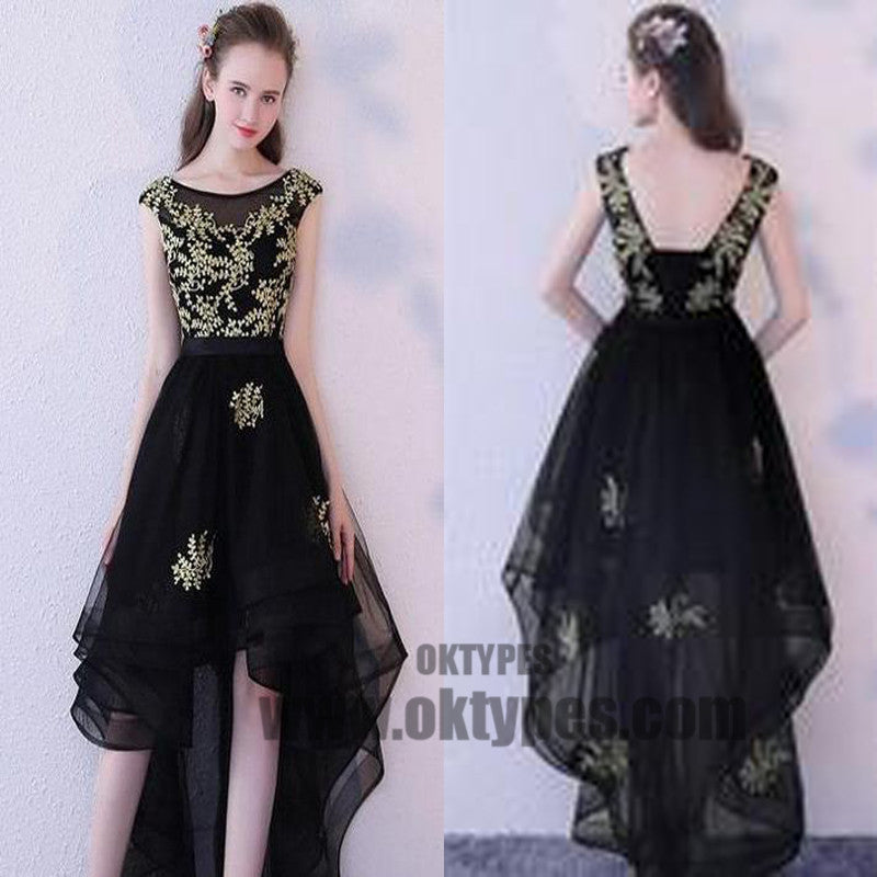 High Low Black Prom Dresses, Appliques Prom Dresses, Backless Prom ...