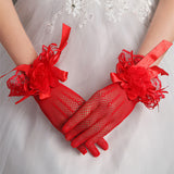 Red Wedding Gloves, Handmade Flower Gloves, Women Gloves, TYP0575
