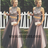 Two Piece Tulle Prom Dresses, Long Prom Dresses, Charming Prom Dresses, Evening Dress, Halter Prom Dresses, Open-back Prom Dresses, TYP0059