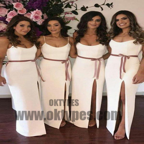 2018 Sheath Bridesmaid Dresses White Cheap Long Bridesmaid Dresses, Bridesmaid Dresses, TYP0436