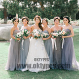 New Arrival Floor-length Strapless tulle Elegant sleeveless backless cheap Bridesmaid Dresses, TYP0417