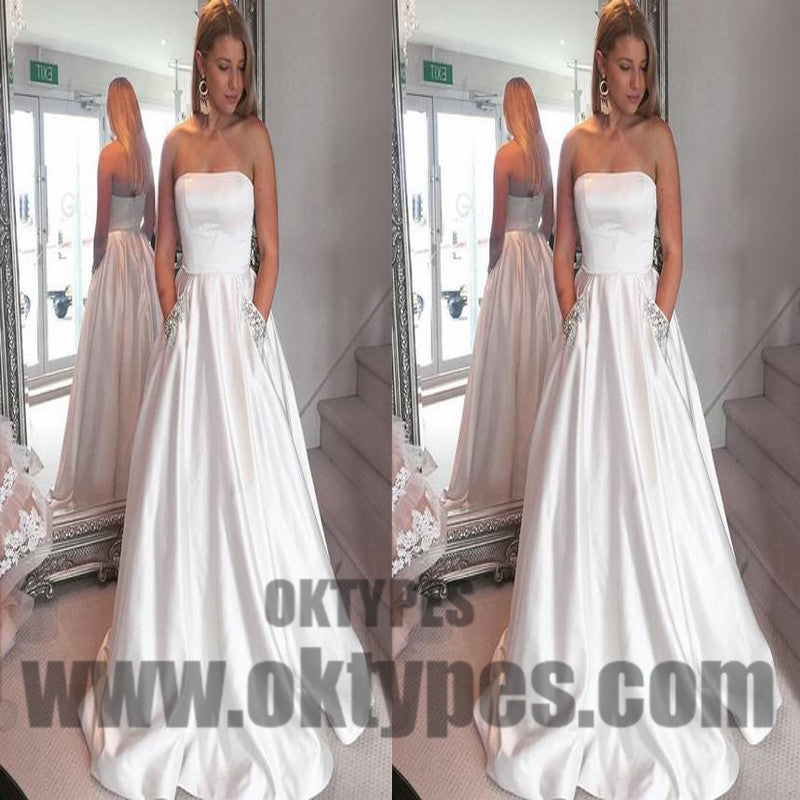 White Long Floor Length Satin Prom Dresses, Straight Across Prom Dresses, Beading Prom Dresses, Zipper Prom Dresses, TYP0286