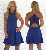Open Back Blue Cheap Cute Simple Casual Homecoming Dresses 2018, CM434