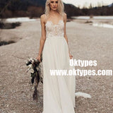 A-Line Spaghetti Straps Long Chiffon Wedding Dress with Lace, TYP0899