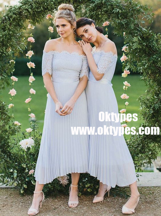 A-Line Off-Shoulder Light Blue Pleated Chiffon Bridesmaid Dress with Lace, TYP0855