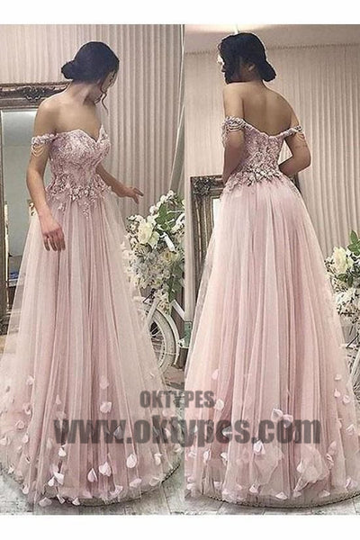 Long Floor Length Prom Dresses, Off-shoulder Prom Dresses, Appliques Prom Dresses, Zipper Prom Dresses, TYP0327
