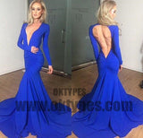 Royal Blue Long Mermaid Prom Dresses, Deep V-neck Prom Dresses, Long Sleeve Prom Dresses, Open-back Prom Dresses, TYP0281
