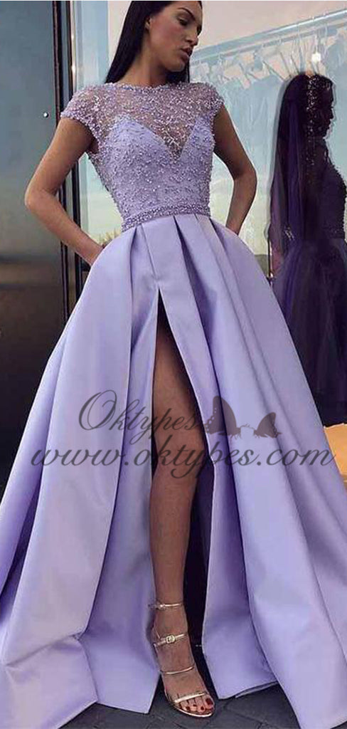 2021 Jewel Cap Sleeves Lavender Satin Evening Prom Dresses With Beading Split, TYP1512