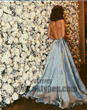 Long Mermaid Satin Prom Dresses, Beading Prom Dresses, Spaghetti Strap Prom Dresses, Backless Prom Dresses, TYP0336