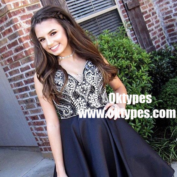 A-Line Spaghetti Straps Short Grey Homecoming Dresses with Beading, TYP0715