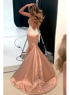 2018 Sexy Backless Spaghetti Strap Prom Dresses, Mermaid Appliques Chapel Train Evening Dresses, TYP0245