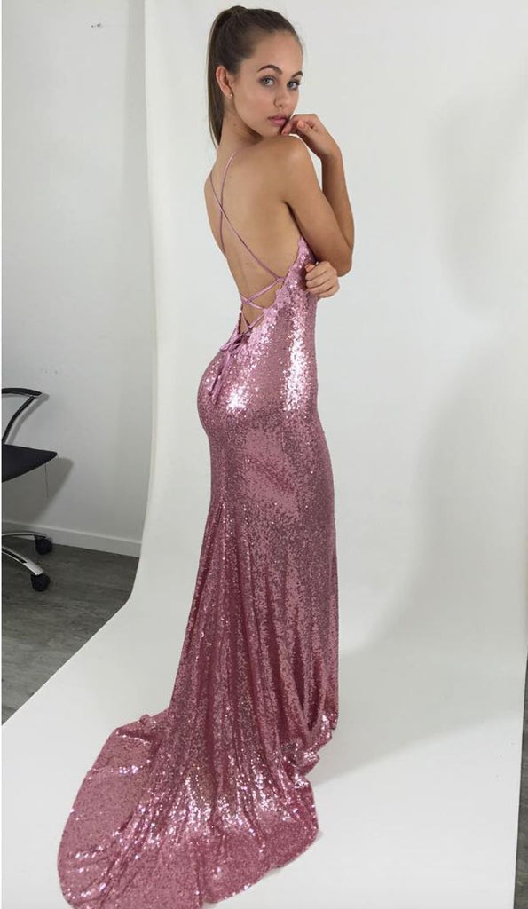 Sexy Pink Sequin Mermaid Prom Dresses, Spaghetti Backless Prom Dresses, TYP0049