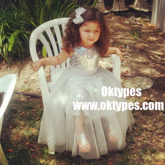 A-Line Jewel Tea-Length Silver Tulle Sequined Flower Girl Dresses, TYP0929