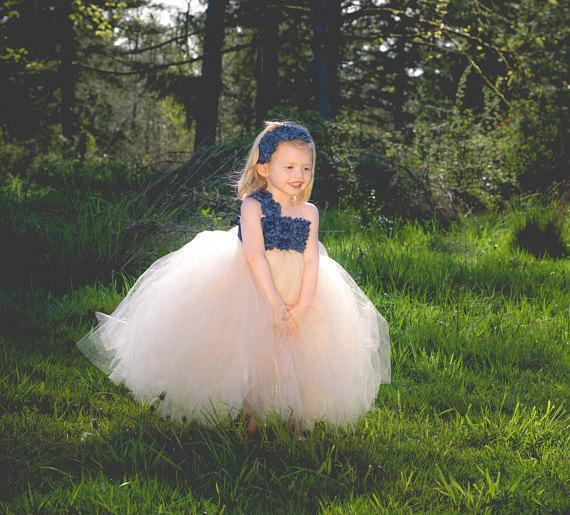 One Shoulder Blue flower Top Tulle Flower Girl Dresses, Lovely Tutu Dresses, TYP1189