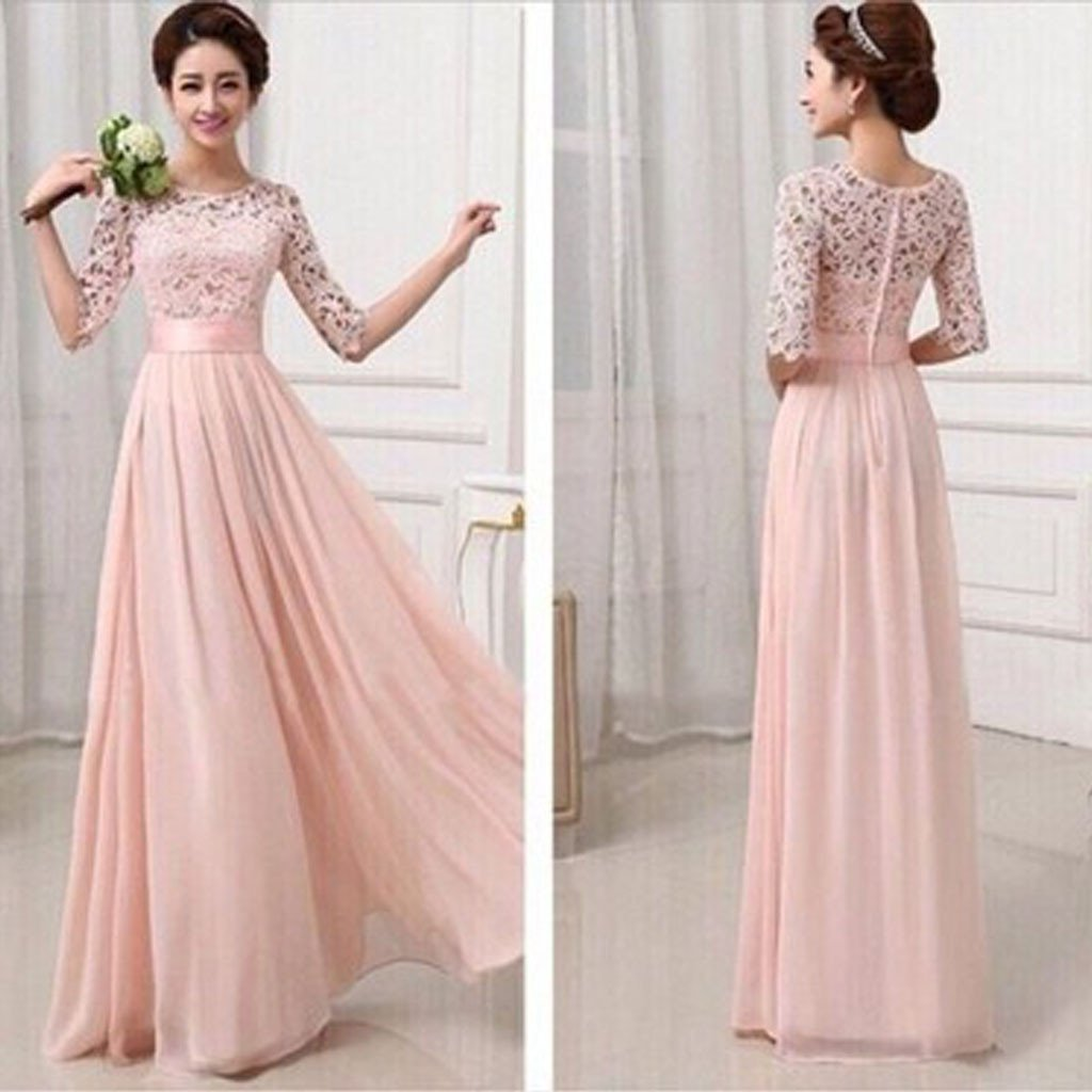 Most Popular Junior Half Sleeve Top Seen-Through Lace Prom Dress Blush Pink Long Bridesmaid Dresses, TYP0115