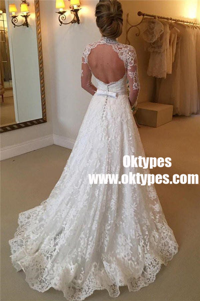 Sexy Long Sleeve High Neckline Open-back Lace  Wedding Dresses, TYP0840