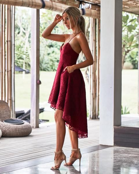 Unique Spaghetti Straps High Low Red Lace Bridesmaid Dresses with Pockets, TYP0974