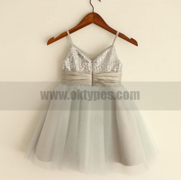 Sparkly Spaghetti Strap V- Neck Light Gray Tulle Flower Girl Dresses With Handmade Flower Sash, TYP0809
