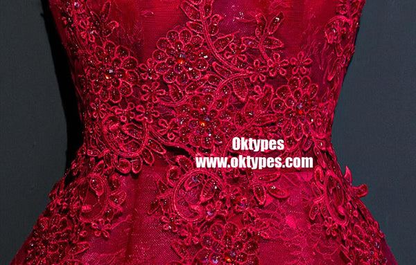 Two Straps Red Lace Heavily Beaded Homecoming Prom Dresses, TYP0902