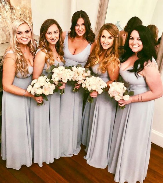 Sexy V-neck Light Gray Chiffon Cheap long Bridesmaid Dresses with sleeveless, TYP0972