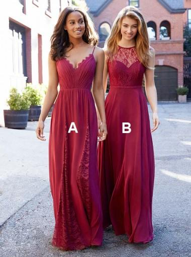Mismatched Watermen Red Chiffon Long Bridesmaid Dresses Online, TYP0894