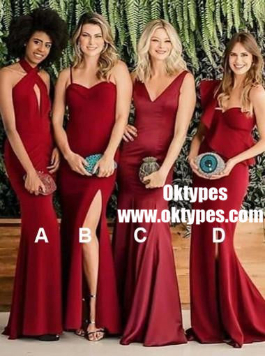 Burgundy Mermaid Long Mismatched Cheap Bridesmaid Dresses Online, TYP0891
