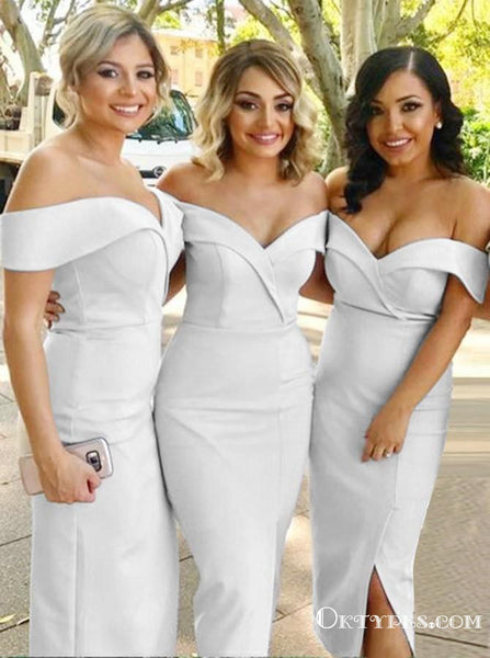 Sheath Off-the-Shoulder White Satin Bridesmaid Dresses with Split, TYP1976