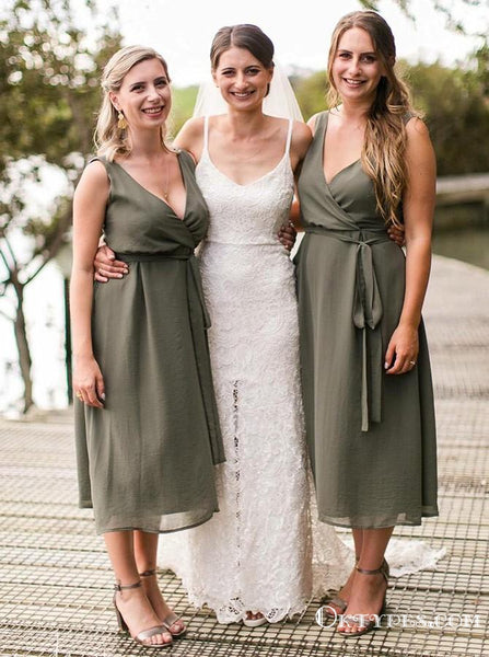A-Line V-Neck Tea-Length Green Chiffon Bridesmaid Dresses with Sash, TYP1971