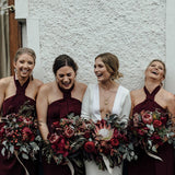Sheath Halter Backless Wine Bridesmaid Dresses With Side Slit, TYP1555